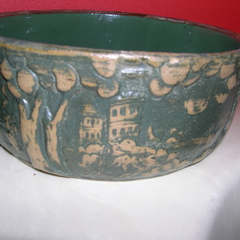 Solid bowl with landscape designs - Arts and Crafts