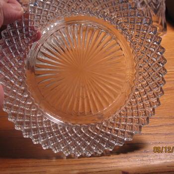 small depression glass diamond pattern plate - Glassware
