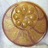 """13"""" Vintage Amber Glass Deviled Egg Platter/Relish Tray"""