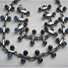 Scandinavian modernist pewter parure with glassbeads