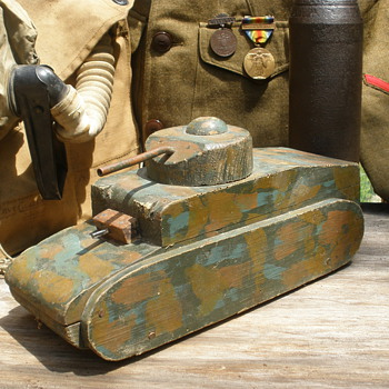 Large wartime pull toy, possibly home made, custom comoflouge.  - Military and Wartime