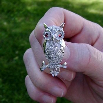 Trifari Wise Old Owl Brooch - Costume Jewelry