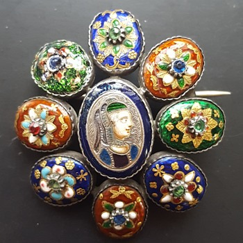 Antique silver Bressans enamels brooch, KYRATISED. - Fine Jewelry