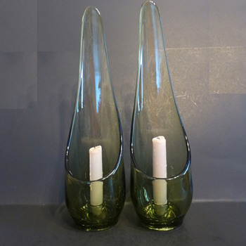 Viking Glass #1192 Epic Taperglow Candle Holders in Avocado Green  - Art Glass