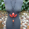 Black and Red 1930s Art Deco Huge Egyptian Revival Phenolic Resin Scarab Lariat