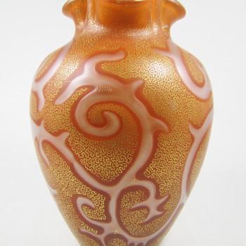 """Rare Orange Loetz Federzeichnung """"Octopus"""" Vase ca. 1887 - Art Glass"""