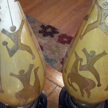 Old Wood and Gold Floor Lamps