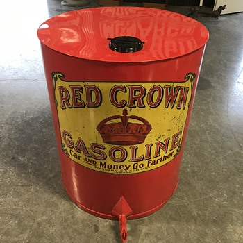 Red Crown Gasoline can or  oil can 30 gallon  - Petroliana