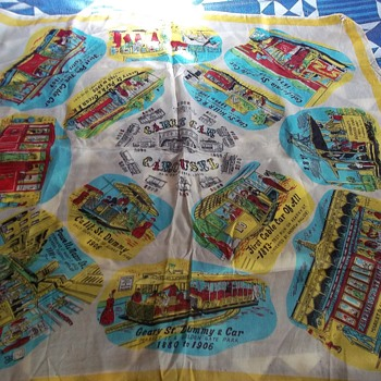 Vintage 100% Rayon Scarf Depicting Evolution Of Trolley (Cable ) Car In San Fran. - Railroadiana