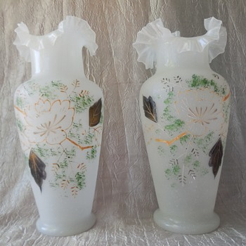 Antique Victorian Bristol or Bohemian Mirror Pair Glass Vases Hand Blown Painted Floral Design With Ruffled Top - Art Glass