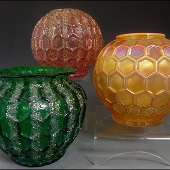 Dugan Glass Rose Bowls - Art Glass