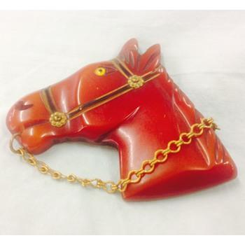 Vintage Bakelite Carved Horse Brooch - Costume Jewelry
