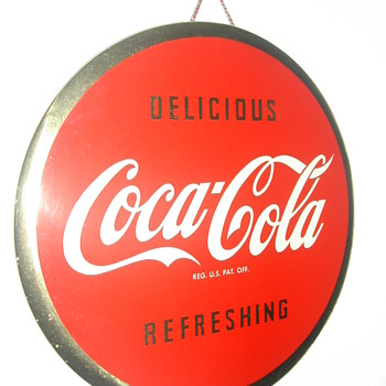 "1940's Coca-Cola 9"" Round Celluloid Sign  - Coca-Cola"