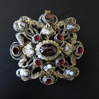 Austro Hungarian Garnet Pearl Pendant Brooch - Fine Jewelry