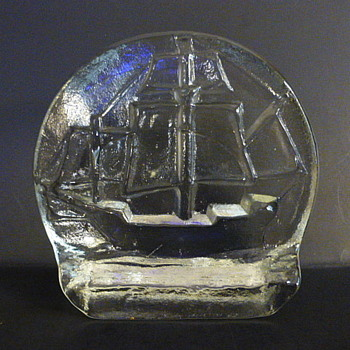 Pilgrim Glass ship bookends - Art Glass