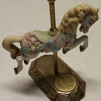 Legends of the Rose a Carousel Romance, Willitts Designs Brass Base Porcelain Carousel Horse - Figurines