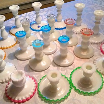 My vintage Fenton Crest candlestick collection - Glassware