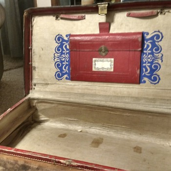 neat old leather trunk - Furniture