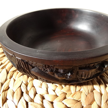 Heavy carved wood bowl