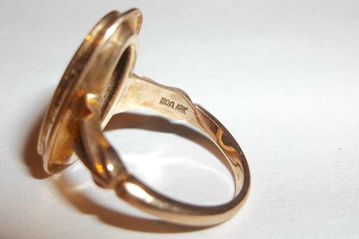 10K Black Onyx Diamond Ring Hallmarked BOA | Collectors Weekly