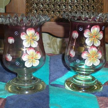 Pair enameled Bohemian Biedermeier vases. - Art Glass