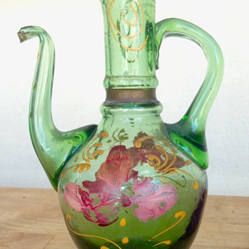 Antique olive oil cruet bought in Greece - Art Glass