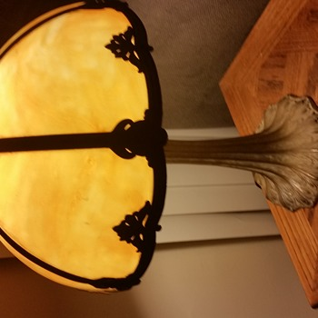 Slag glass lamp.