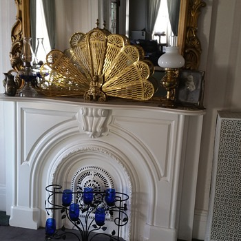 Vintage folding peacock style brass fireplace screen