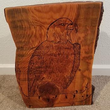 Carved Eagle  On Live Edge  Log - Folk Art