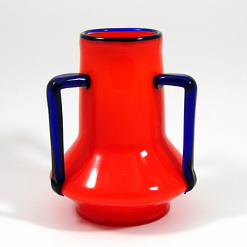 Loetz Tango Orange vase with applied cobalt handles - Art Glass