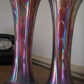 can anyone tell me more about these carnival glass vases?