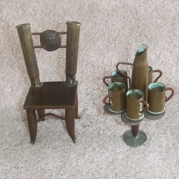 Trench art dollhouse furniture WW1 era - Military and Wartime