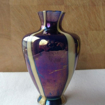 Sample Size Kralik Blue Flash Vase - Marked - Art Glass