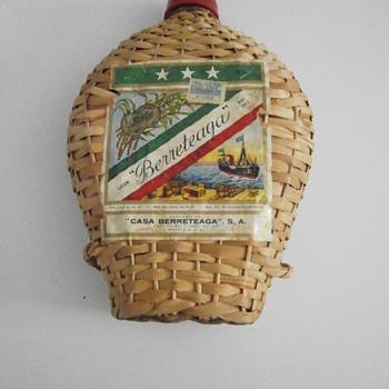 Vintage weaved cane bamboo bottle - Bottles