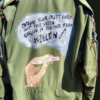 Original 1969-1971 Anti-Vietnam War Protest Field Jacket With Hand Painted Art and Named PROTESTS - Politics