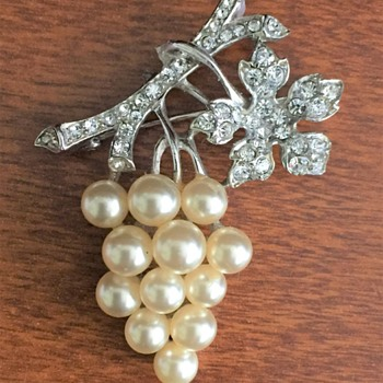 Trifari Pearl Rhinestone Brooch  - Costume Jewelry