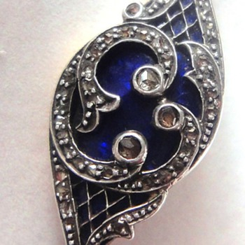 Art Nouveau cobalt blue enameled brooch hidden compartment  - Fine Jewelry