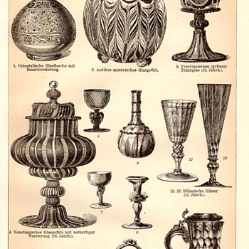 Some old German Antique Art Glass Drawings or Lithographs - Victorian Era