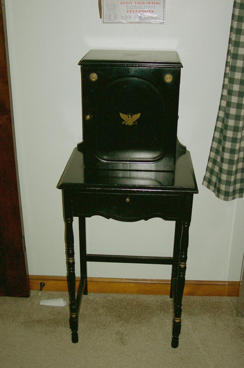 Preferred Vintage Black Telephone Cabinet & lower door   Collectors Weekly OT71