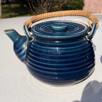 Unmarked Blue Ringed Teapot Combination of Styles Rattan Handle - Mid-Century Modern