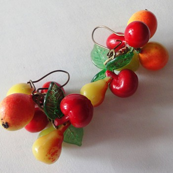 Funny Bakelite fruit earrings - Costume Jewelry