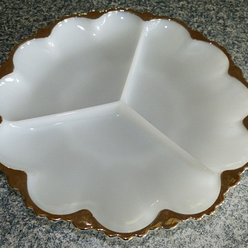 Milk Glass Sectioned Dish with Gold Trim - Glassware