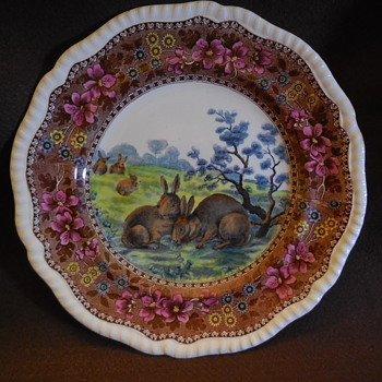 Copeland Late Spode Grazing Rabbits Plate Rd. No. 180288 - China and Dinnerware