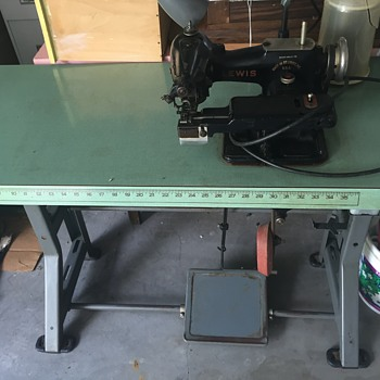 Commercial Singer Table with older Lewis Blind Stich sewer