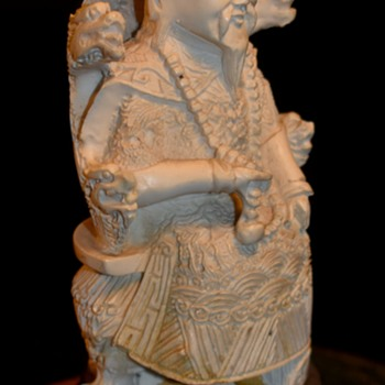 Hand Carved Statue - Emperor? Guardian? Bone? Resin? - Asian