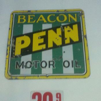 Porcelain Penn Beacon Oil sign - Signs