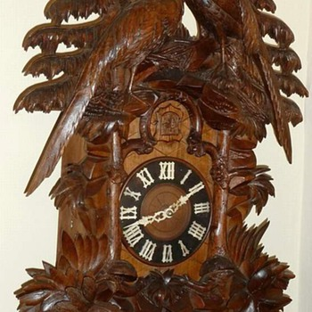 Highly Carved Large Black Forest Cuckoo Clock  - Clocks