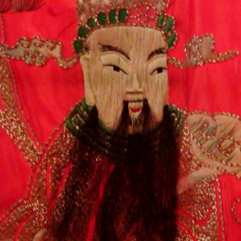 Oriental Silk Tapestry  Oriental Figures With Real Hair (Animal Hair) Beards - Asian
