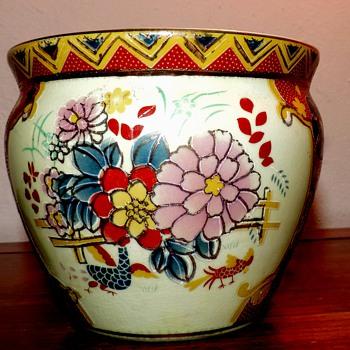 antique satsuma  fish bowl vase planter