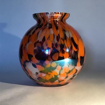 Kralik Iris Spatter Glass Ball Vase - Art Glass